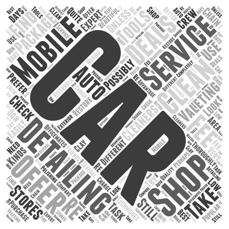 valeting: Car Valeting Detailing Shops or Mobile Services word cloud concept