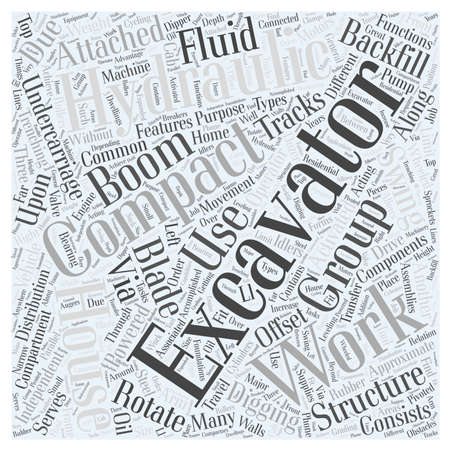 trenching: Compact Excavator word cloud concept