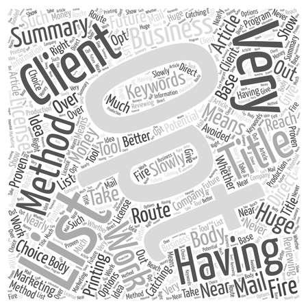 opt: Opt In List word cloud concept