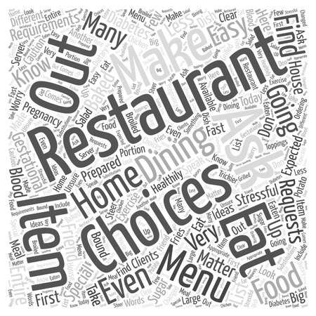 gestational: Restaurant Dining and Gestational Diabetes word cloud concept Illustration