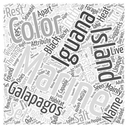 Marine iguana word cloud concept Illustration