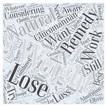 Nautral Remedies for Losing Weight Glucomannan word cloud concept