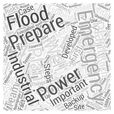 industrial emergency preparation word cloud concept Ilustração