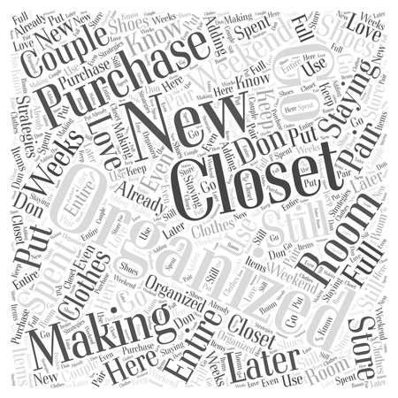 Het maken van ruimte voor nieuwe aankopen tijdens een verblijf Georganiseerd woord wolk concept Stock Illustratie