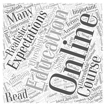 expectations: Managing Your Online Education Expectations word cloud concept Illustration