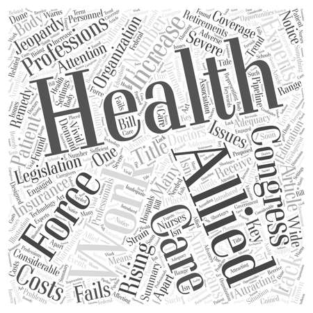 Experts Say the Allied Health Work Force Is in Jeopardy word cloud concept Reklamní fotografie - 67581791