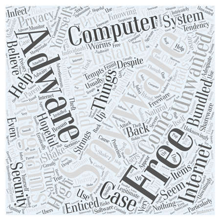 free spyware and adware programs word cloud concept Çizim