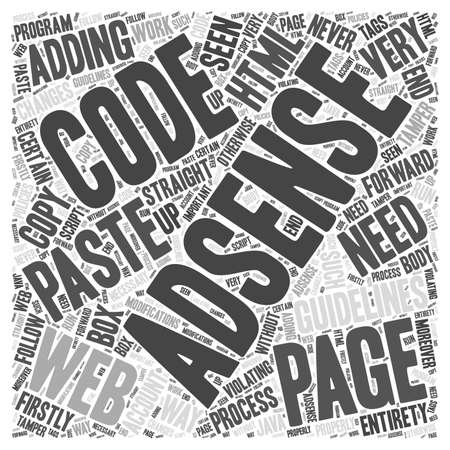 violating: Guidelines for adding the AdSense code to your web page word cloud concept