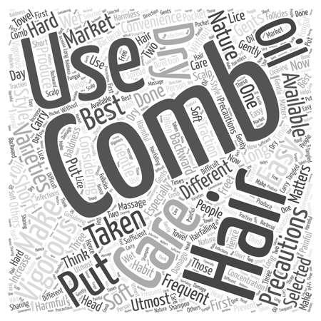 COMBING HAIR word cloud concept Çizim