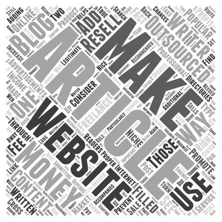 How to Make Money with Outsourced Articles word cloud concept Ilustração
