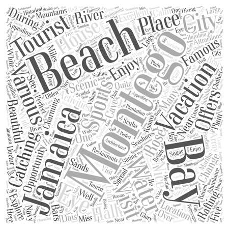 water s: montego bay jamaica vacation word cloud concept Illustration