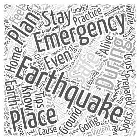 earthquake emergency preparation tips word cloud concept