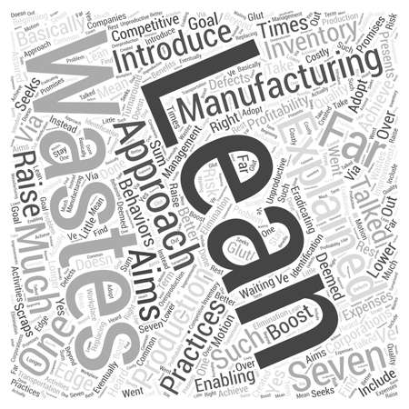 lean manufacturing explained word cloud concept Illustration