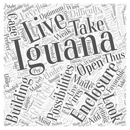 iguana enclosures word cloud concept Illustration