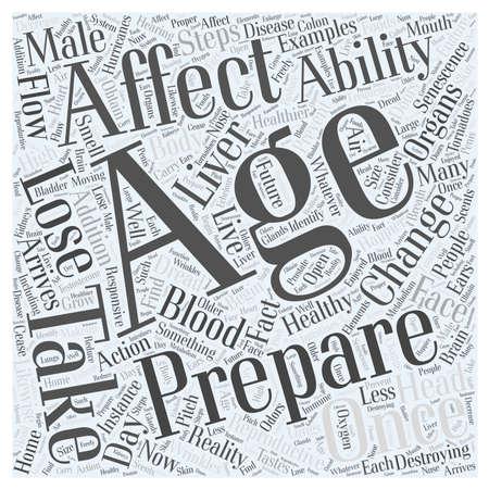 Examples in How the Body Senescence in Healthy Aging word cloud concept Illusztráció