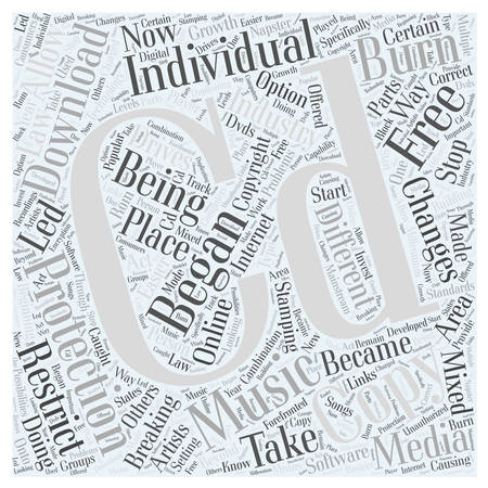 stamping your CD with copy protection word cloud concept