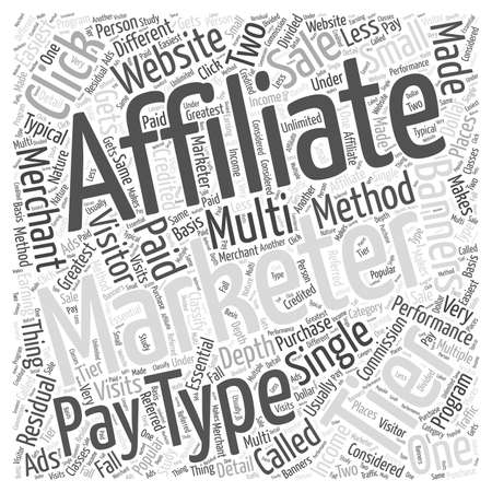 affiliates: Different Types of Affiliate Marketing word cloud concept Illustration
