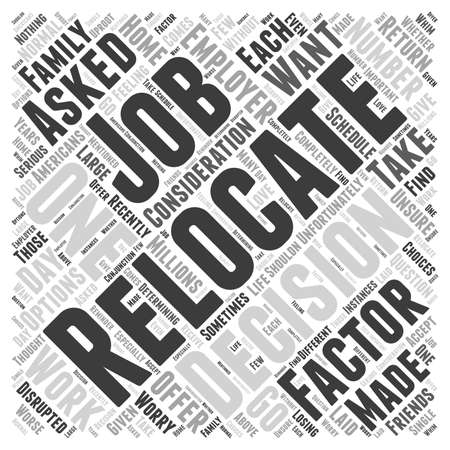 relocate: Should You Relocate If Asked By Your Employer word cloud concept