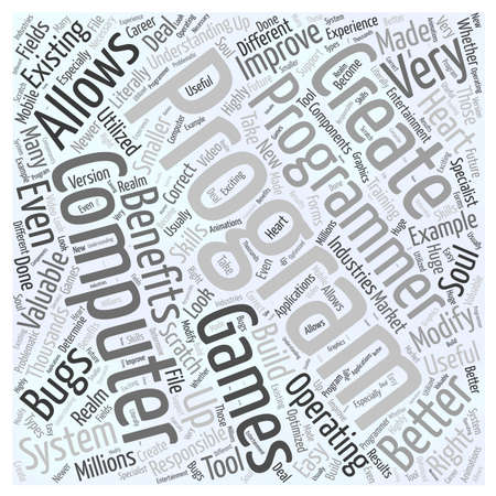 computer programming: info on computer programming benefits word cloud concept