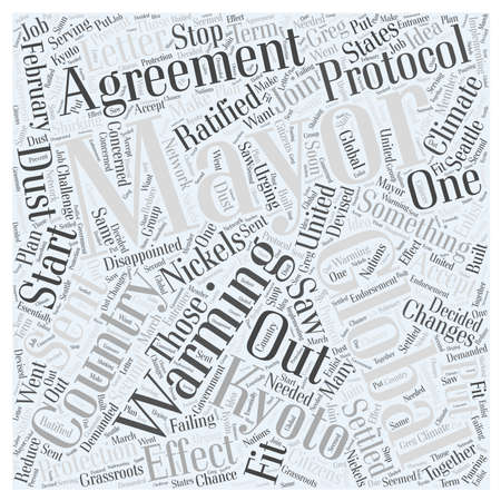 The US Mayors Climate Protection Agreement on Global Warming word cloud concept