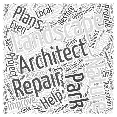 Landcsape architect repair word cloud concept Ilustracja