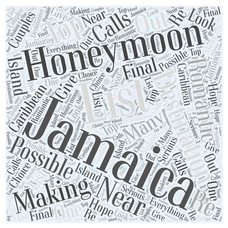 Honeymooning in Jamaica word cloud concept