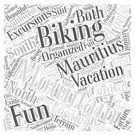 Mountainbiken On Your Mauritius Vakantie woord wolk concept Stock Illustratie
