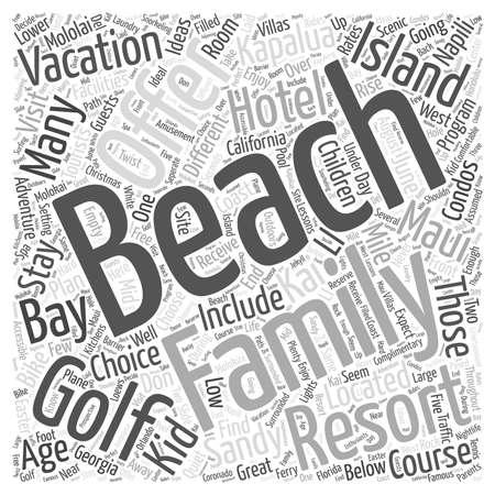 Playa Familia Ideas para sus vacaciones concepto de nube de palabras Foto de archivo - 67582190