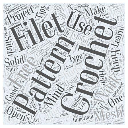 free filet crochet pattern word cloud concept Ilustrace