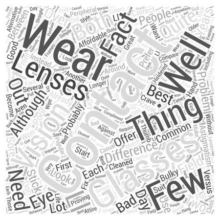 Contact Lenses Versus Glasses word cloud concept