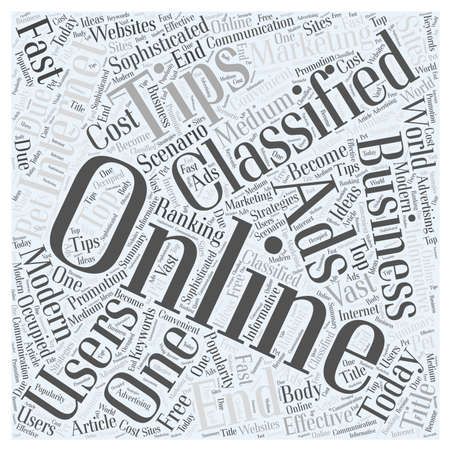 Online Classified Ads And Its Advantages word cloud concept Ilustração