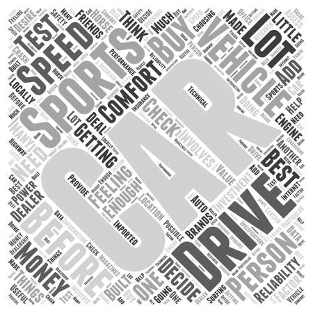 SC sports car buying tips word cloud concept Illustration