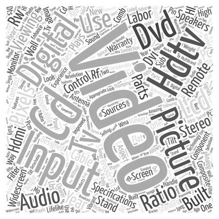 hdtv: lcd hdtv word cloud concept Illustration