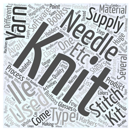 Knitting supplies word cloud concept