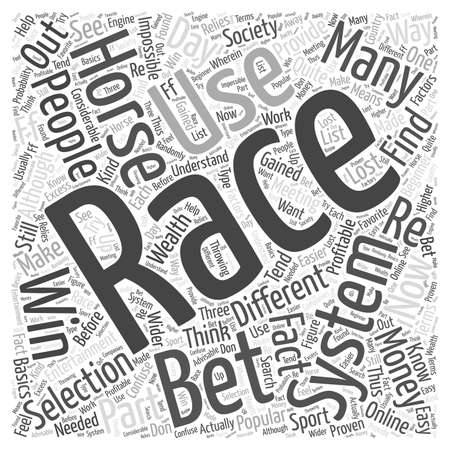 horse racing selection word cloud concept