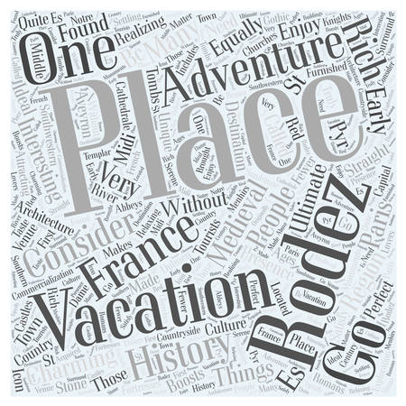 the ultimate adventure vacation in france word cloud concept Çizim