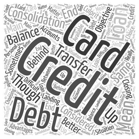 Credit Card Debt Consolidation Loan word cloud concept Çizim