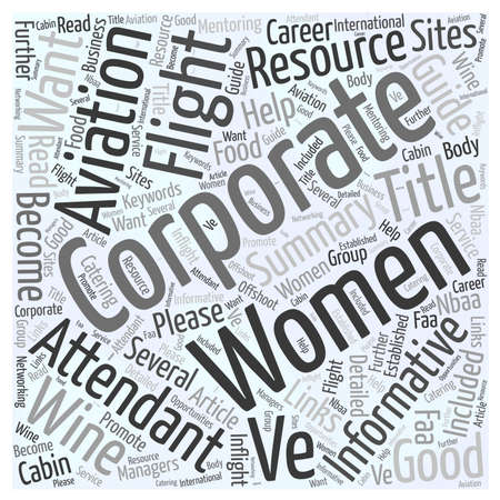 attendant: Corporate Flight Attendant Resource Guide word cloud concept Illustration