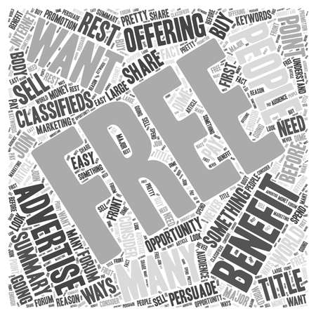 The Benefits of Free Advertising word cloud concept Illustration