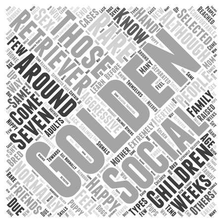 socialising: La socialización de su Golden Retriever concepto de nube de palabras Vectores