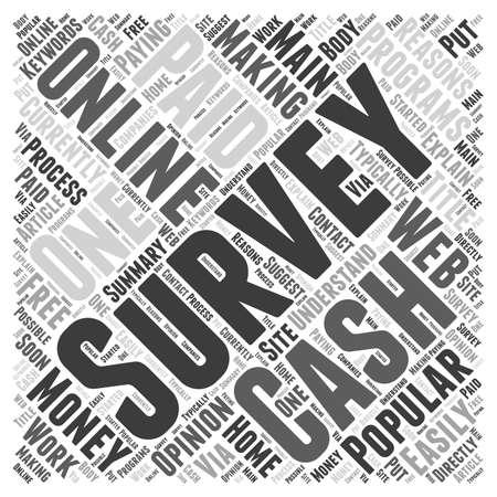 reasons: Surveys For Cash word cloud concept