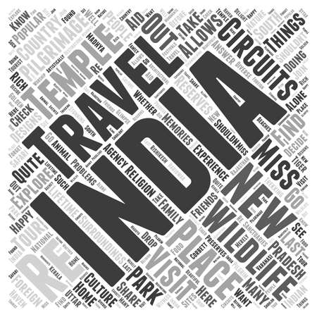 travel circuit of india word cloud concept 向量圖像