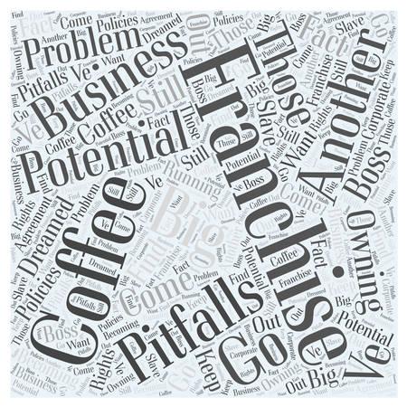 De mogelijke valkuilen van een Coffee Franchise woord wolk concept Stockfoto - 67670959
