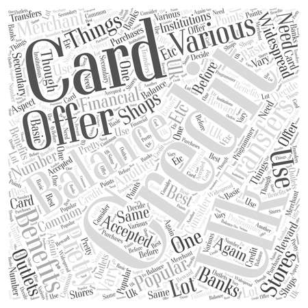 Uk Credit Cards And Balance Transfers word cloud concept
