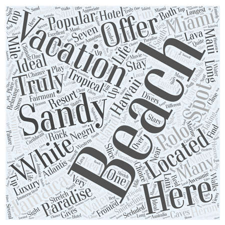 Top Beach Vacation Spots word cloud concept 矢量图像