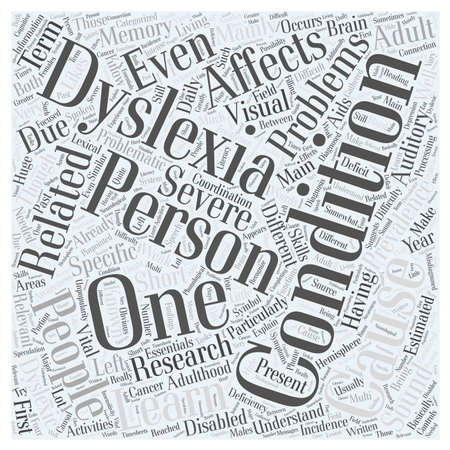 dyslexia: The Essentials On Adult Dyslexia word cloud concept