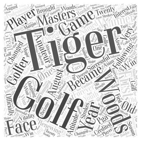 Tiger Woods word cloud concept Иллюстрация