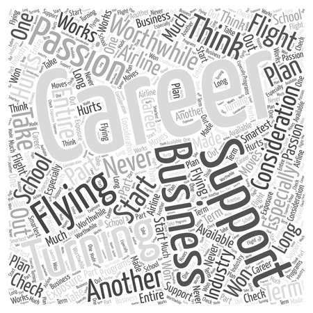 플라잉 워드 클라우드 개념에서 커리어로의 열정 전환