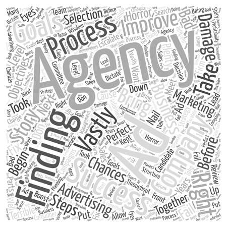 finding: The Steps to Finding the Perfect AD Agency word cloud concept Illustration