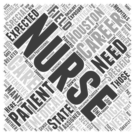 The Different Nursing Careers in Houston word cloud concept 向量圖像